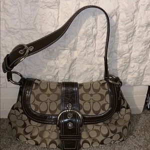 Coach Pleaded Buckle Flap Shoulder Bag